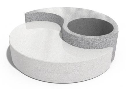 Banklı beton saksı Yin-Yang